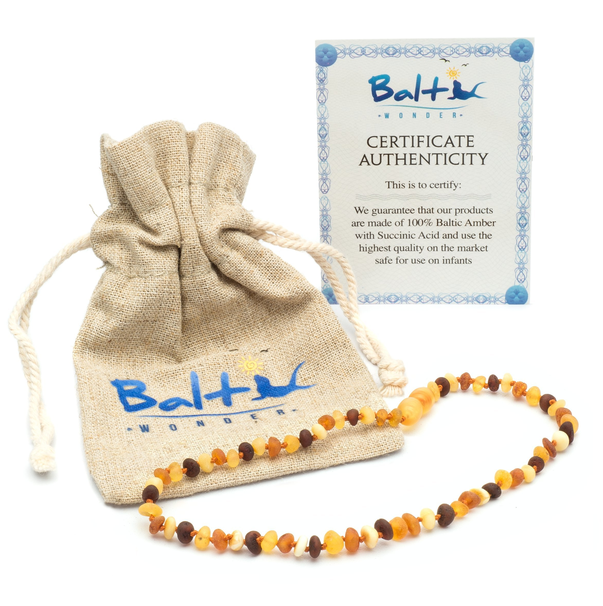 Raw Baltic Amber Teething Necklaces For Babies (Unisex) - Anti Flammatory, Drooling & Teething Pain Reduce Properties - Multi 4 Colors UNPOLISHED Natural Certificated with Highest Quality Guaranteed. by Baltic Wonder