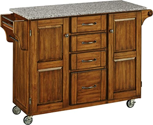 Home Styles Large Mobile Create-a-Cart Warm Oak Finish Two Door Cabinet Kitchen Cart