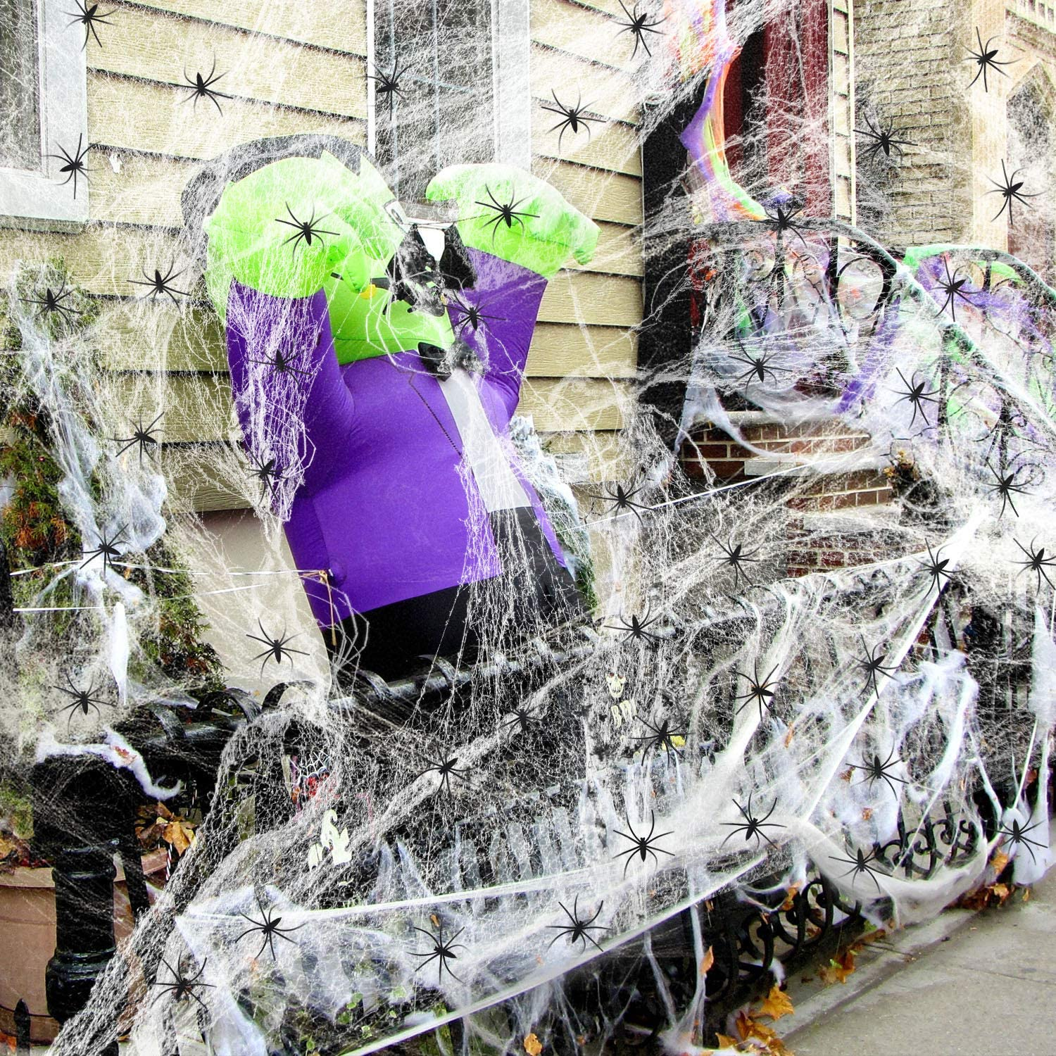 1200 sqft Halloween Spider Web Decor with 30 Fake Plastic Spiders. Scary Outdoor + Indoor Stretchable Spiderweb Decorations. Best Home, Office, Party, Yard + Tree Cobweb Webbing(300g)