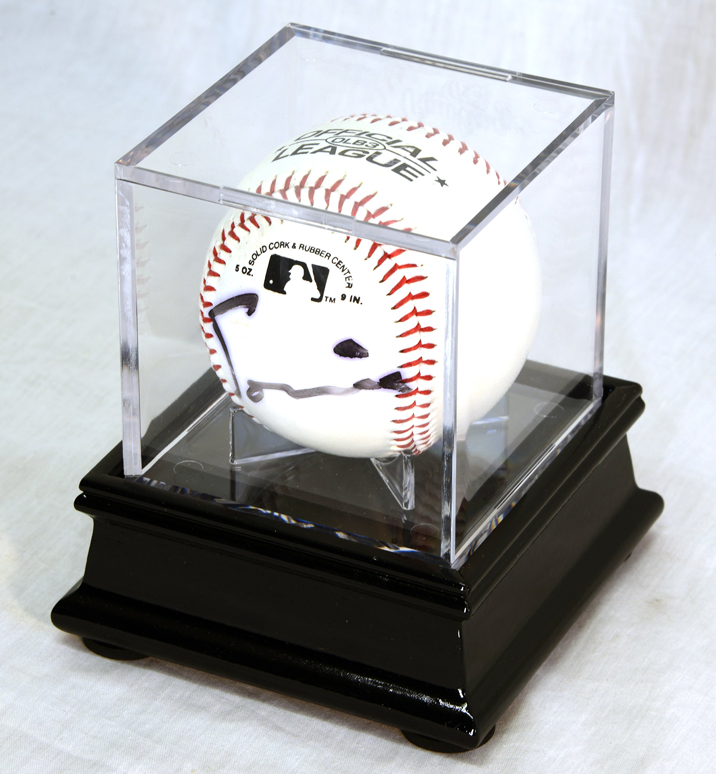 Single Baseball Cube Display Case Stand with 98% UV Ultra Pro Cube Included (Black Finish) by sfDisplay.com,LLC. (Image #1)