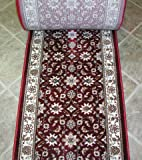 "141669 - Rug Depot Radici Como 1592 Red Traditional Hall and Stair Runner - 26"" Wide Hallway Rug Runner - Red Background - Carpet Runner Sold By the Foot"