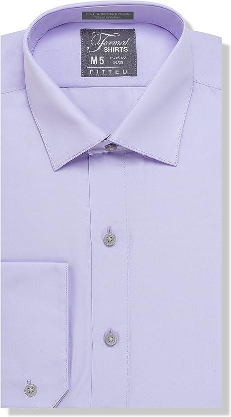 Luxe Microfiber de los hombres Equipada Spread cuello camisa de ...