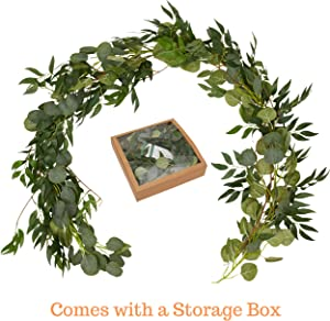 Artificial Garland Eucalyptus vines/Fuax Greenery Garland Willow-Table Runner/Kitchen/Outdoor/Home Decor/Wall Vines Decor-Artificial Plant Backdrop-Fake Green Centerpieces-Indoor Hanging Foliage Leave