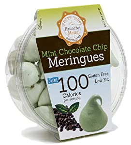 Original Meringue Cookies (Mint Chocolate Chip) • 100 calories per serving, Gluten Free, Low Fat, Nut Free, Low Calorie Snack, Kosher, Parve • by Krunchy Melts