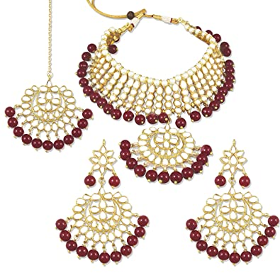 92389a5769aab Karatcart 22K GoldPlated Traditional Kundan Pearl Bridal Red Choker  Jewellery Set for Women