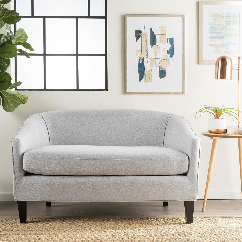 Amazon.com: Isolde Modern Petite Loveseat (Fabric or Leather) (Light ...