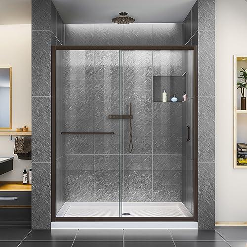 DreamLine Infinity-Z 50-54 in. W x 72 in. H Semi-Frameless Sliding Shower Door, Clear Glass in Oil Rubbed Bronze, SHDR-0954720-06