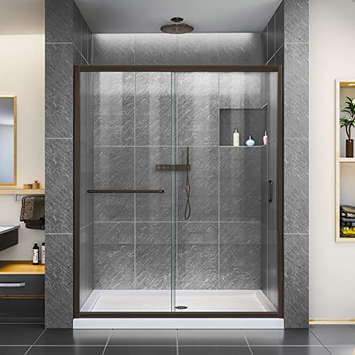 DreamLine Infinity-Z 36 in. D x 60 in. W x 74 3 4 in. H Clear Sliding Shower Door in Oil Rubbed Bronze and Center Drain White Base, DL-6973C-06CL