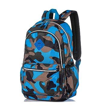 School Bag Camouflage Children Kids Backpack Lightweight Shoulder Rucksack  Daypack for Boys and Girls - Blue 3640f1b0b1