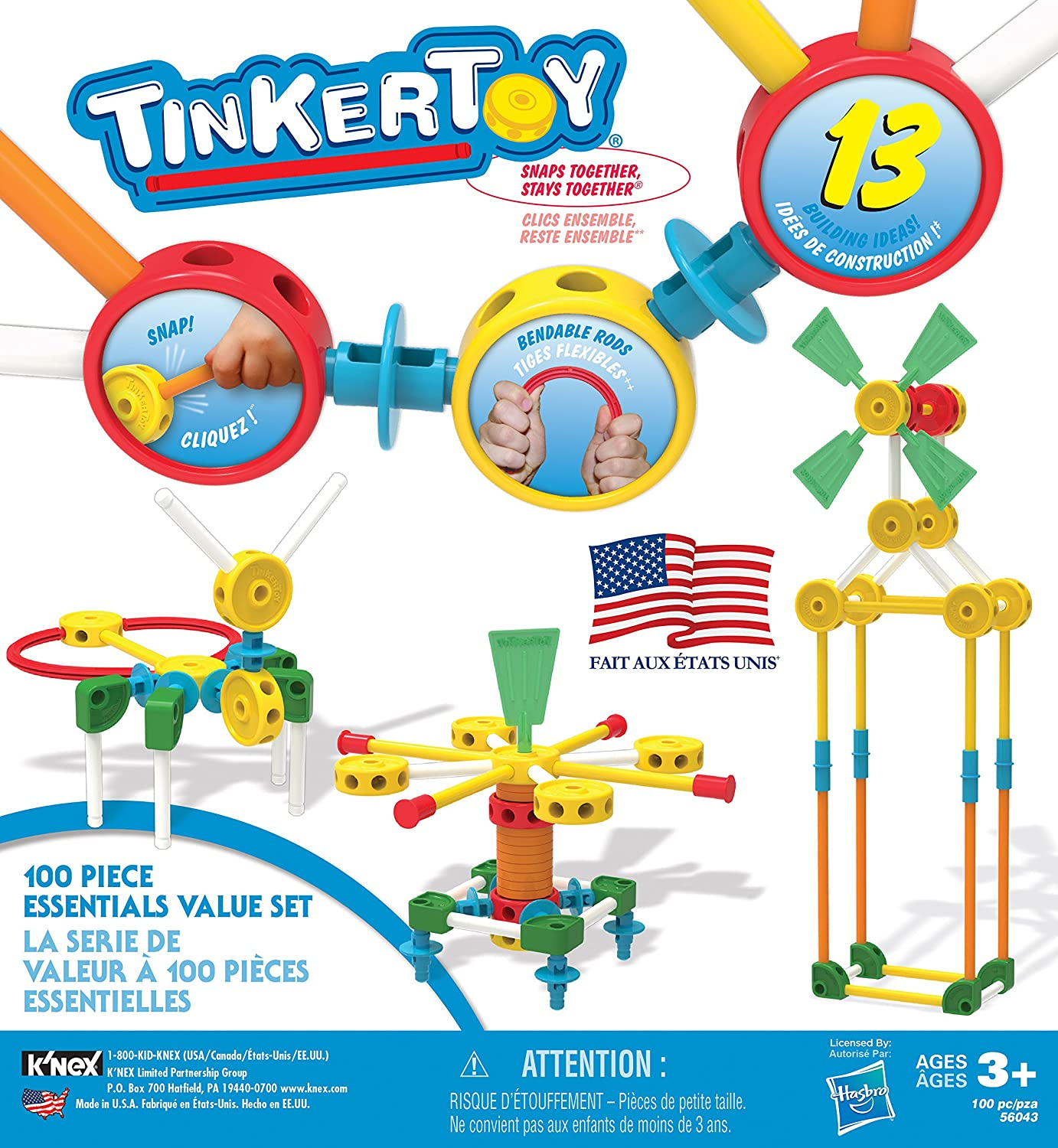 Amazon TINKERTOY ‒ 100 Piece Essentials Value Set ‒ Ages 3