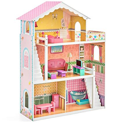 Amazon Com Best Choice Products 3 Story Kids Large Wooden Dollhouse