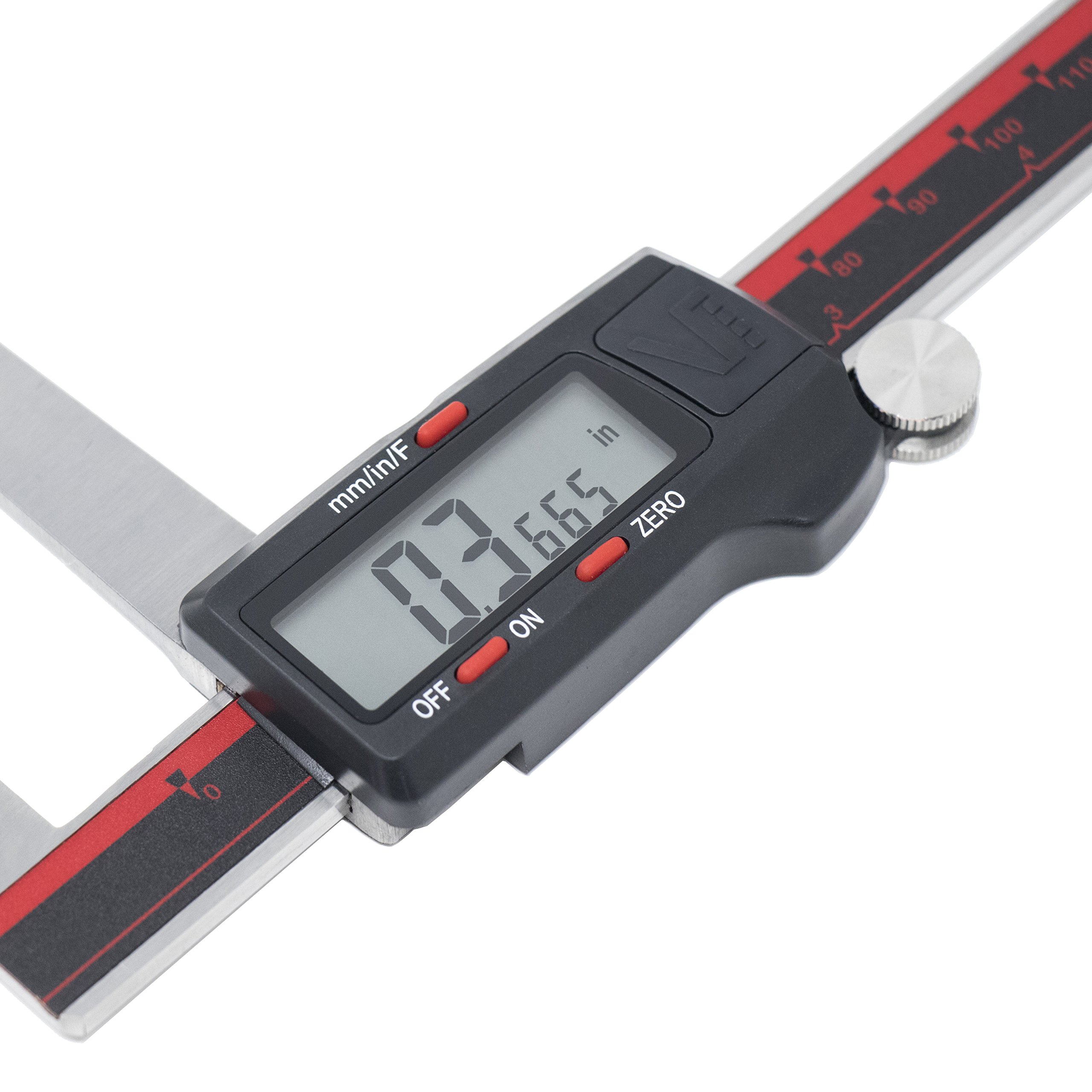 VINCA DRGA-0605 Quality Electronic Digital Break Rotor Gauge inch/Metric/Fractions Conversion 0-6 Inch/150 mm Stainless Steel Body Red/Black Extra Large LCD Screen Auto Off Featured Measuring Tool by VINCA (Image #3)