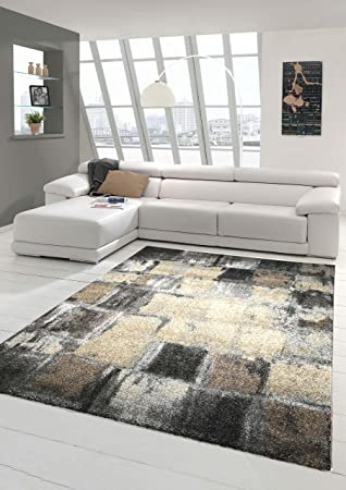 Designer Teppich Moderner Teppich Wohnzimmer Teppich Kurzflor Teppich  Barock Design Meliert Karo Design In Braun Grau