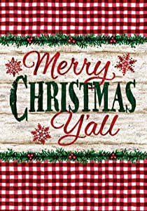 Custom Decor Merry Christmas Y'all - Garden Size, Decorative Double Sided, Licensed and Copyrighted Flag - Printed in The USA Inc. - 12 Inch X 18 Inch Approx. Size