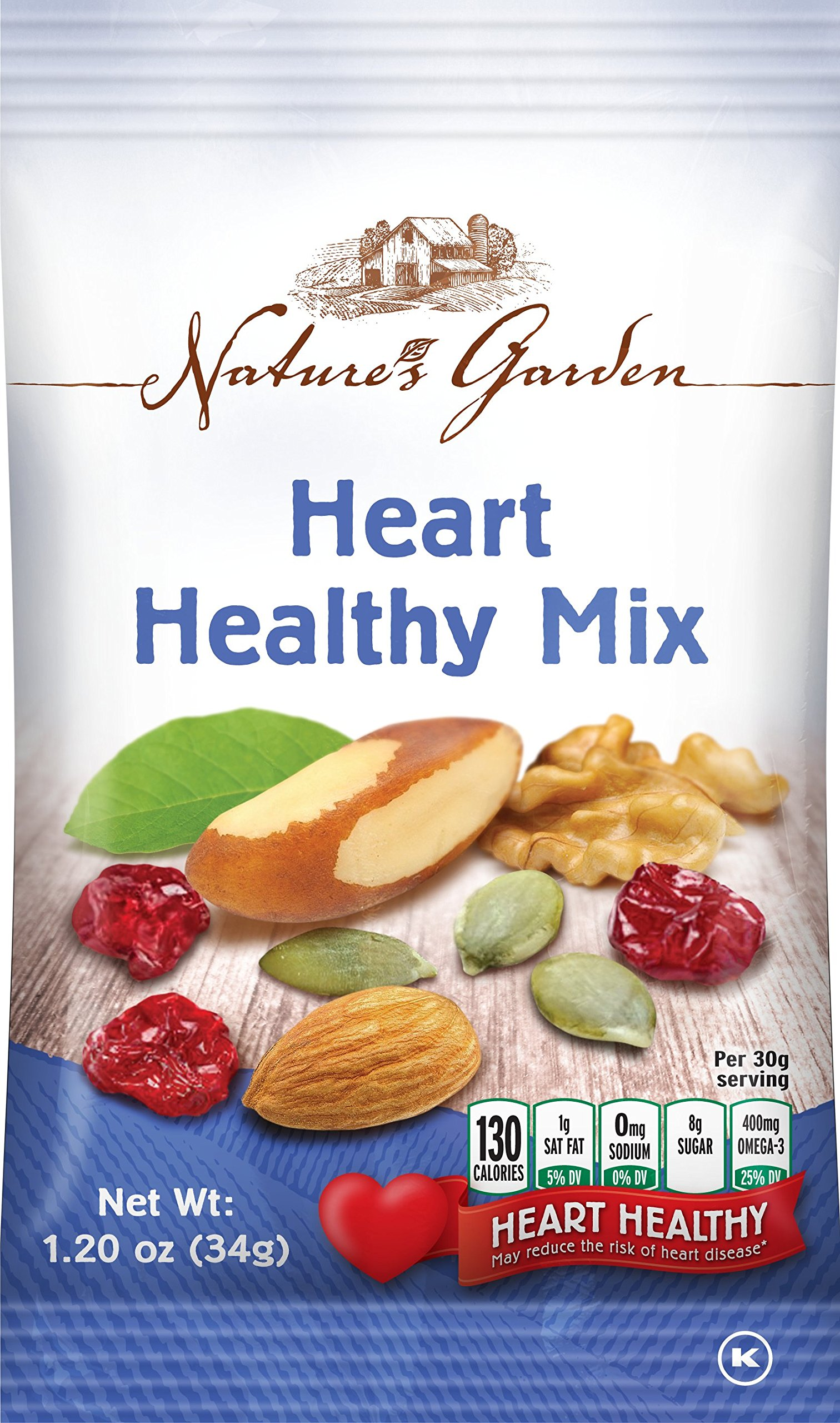 Natures Garden Heart Healthy Mix Single Serve 1.2 Ounce Bags, Pack of 7