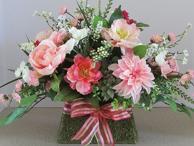Amazon Moss Purse Floral Arrangement Pink And Coral Floral