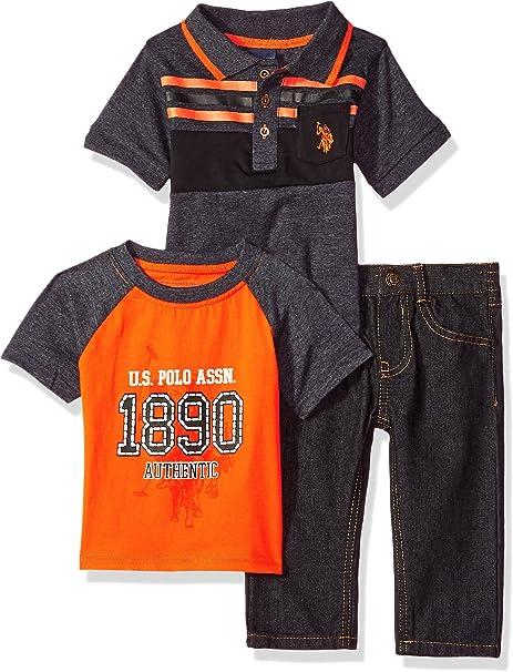 U.S. Polo Assn. Baby Boys Polo Shirt, T-Shirt and Pant Set, Neon ...