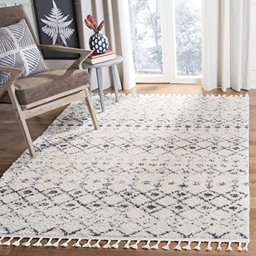 Safavieh Berber Fringe Shag Collection BFG516A Cream and Dark Grey 9'10″ x 14' Area Rug