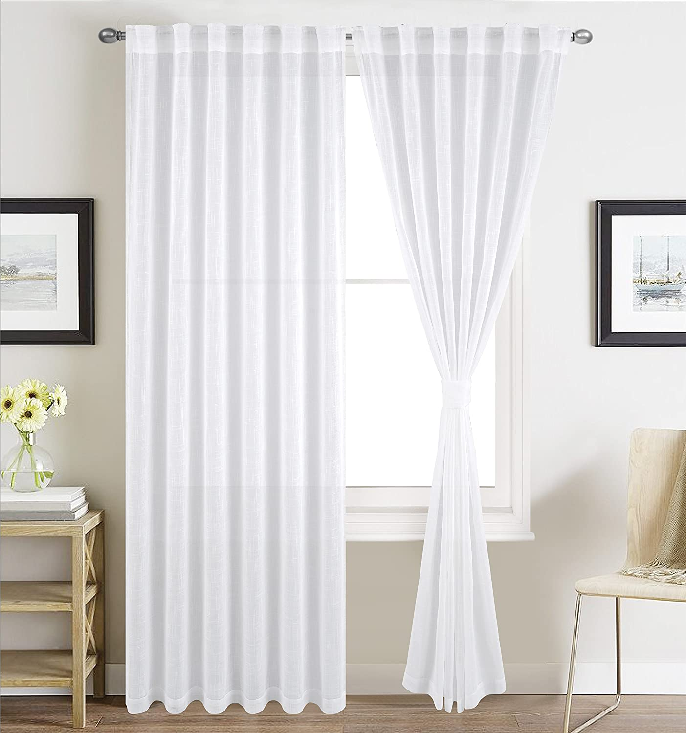 BETTER HOME USA BHU Faux Linen Sheer Curtains for Bedroom, Window Treatment Sheer Curtain Pnaels, Rod Pocket and Back Tab, Set of 2 Panels, W54 by L84, White