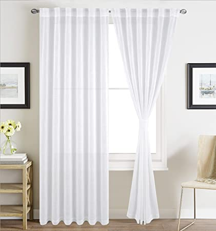 BHU Faux Linen Sheer Curtains for Bedroom, Window Treatment Sheer Curtain  Pnaels, Rod Pocket and Back Tab, Set of 2 Panels, W54\