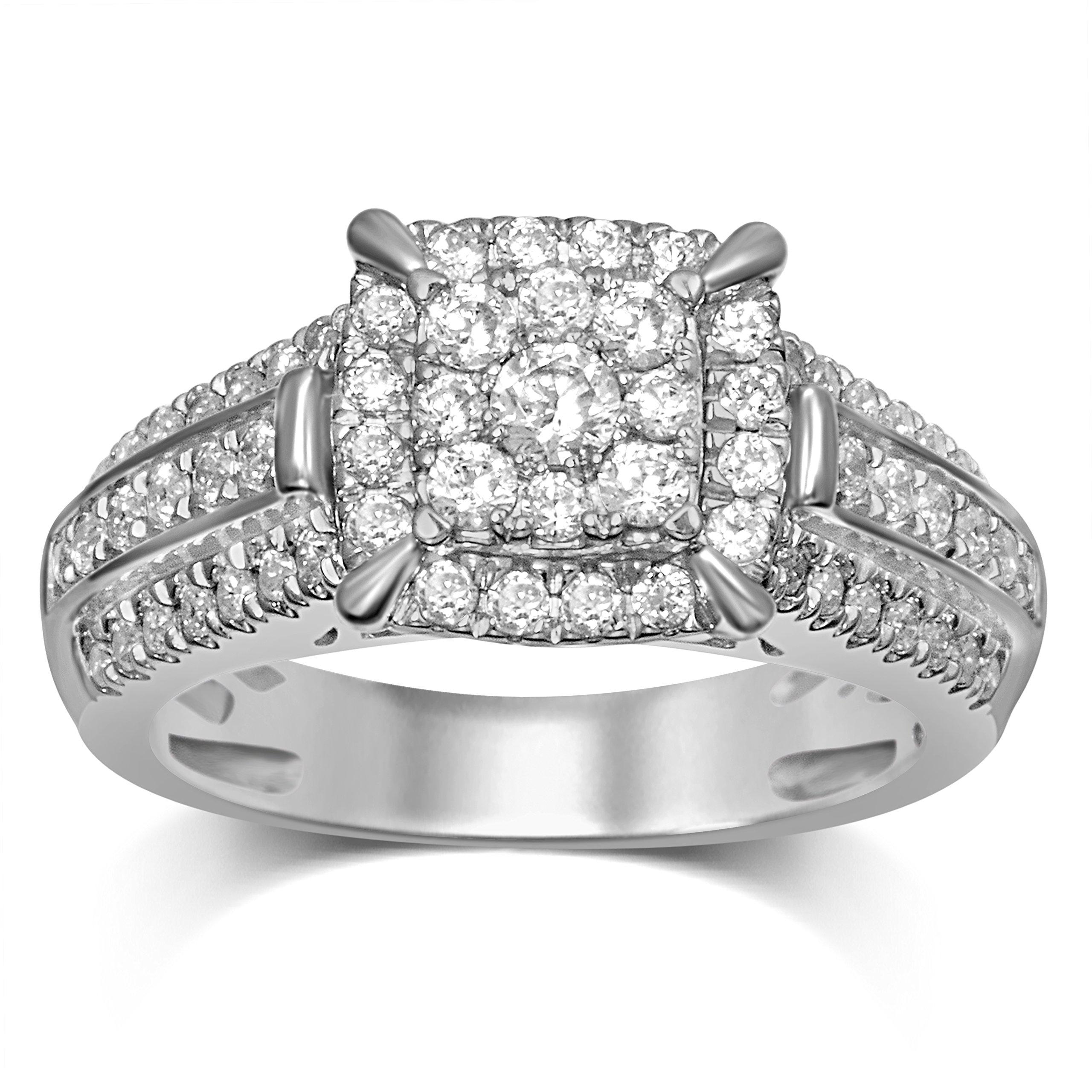 Diamond Jewel 14K White Gold 1 CT TW Diamond Cluster Engagement Ring (H-J, I1)