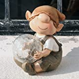 Andy The Elf Resin Garden Ornament with Solar Powered Illuminating Colour Change Ball, Fairy, Troll, garden imp