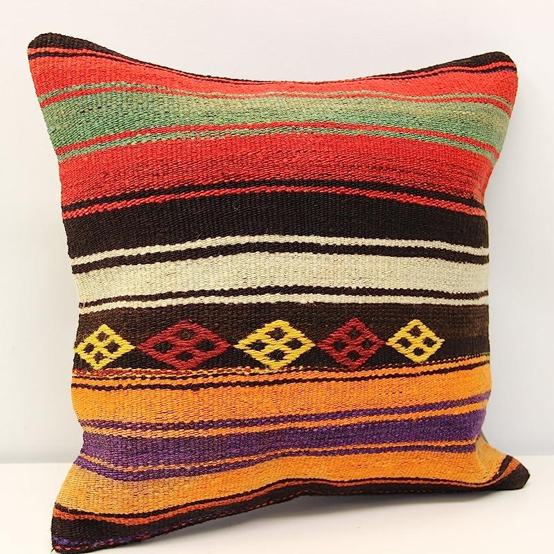 Kilim pillow 16x16 inch 40x40 cm Decorative pillow Boho kelim pillow Interior design Retro Home Decor Natural Dye Kilim Cushion  M-1305