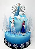 Winter Wonderland Princess Elsa Frozen Birthday Cake Topper Set Featuring Anna, Elsa, Olaf and Decorative Themed…