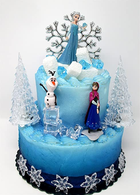Amazon Winter Wonderland Princess Elsa Frozen Birthday Cake Topper Set Featuring Anna Olaf And Decorative Themed Accessories Toys Games