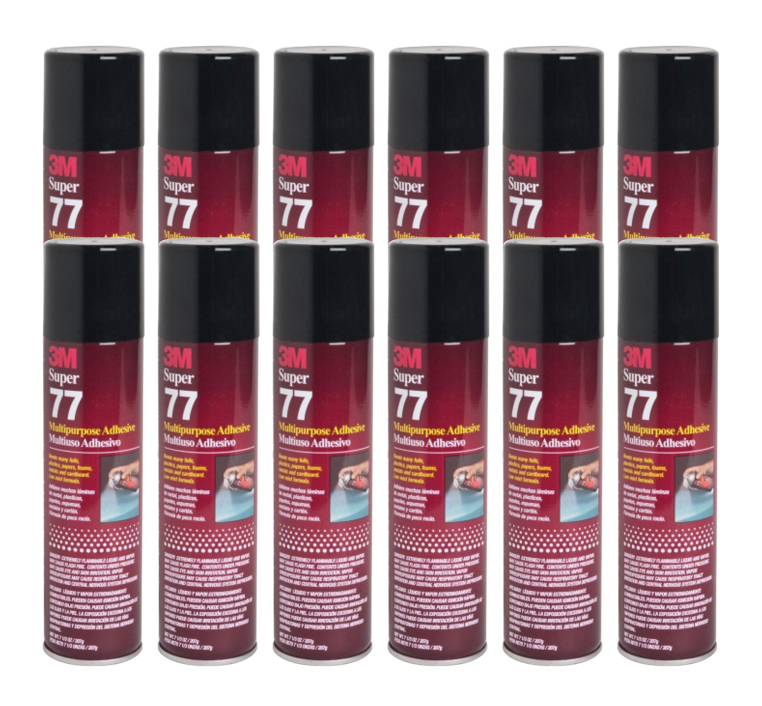 QTY12 3M SUPER 77 7.3 OZ SPRAY GLUE MULTIPURPOSE ADHESIVE CANS