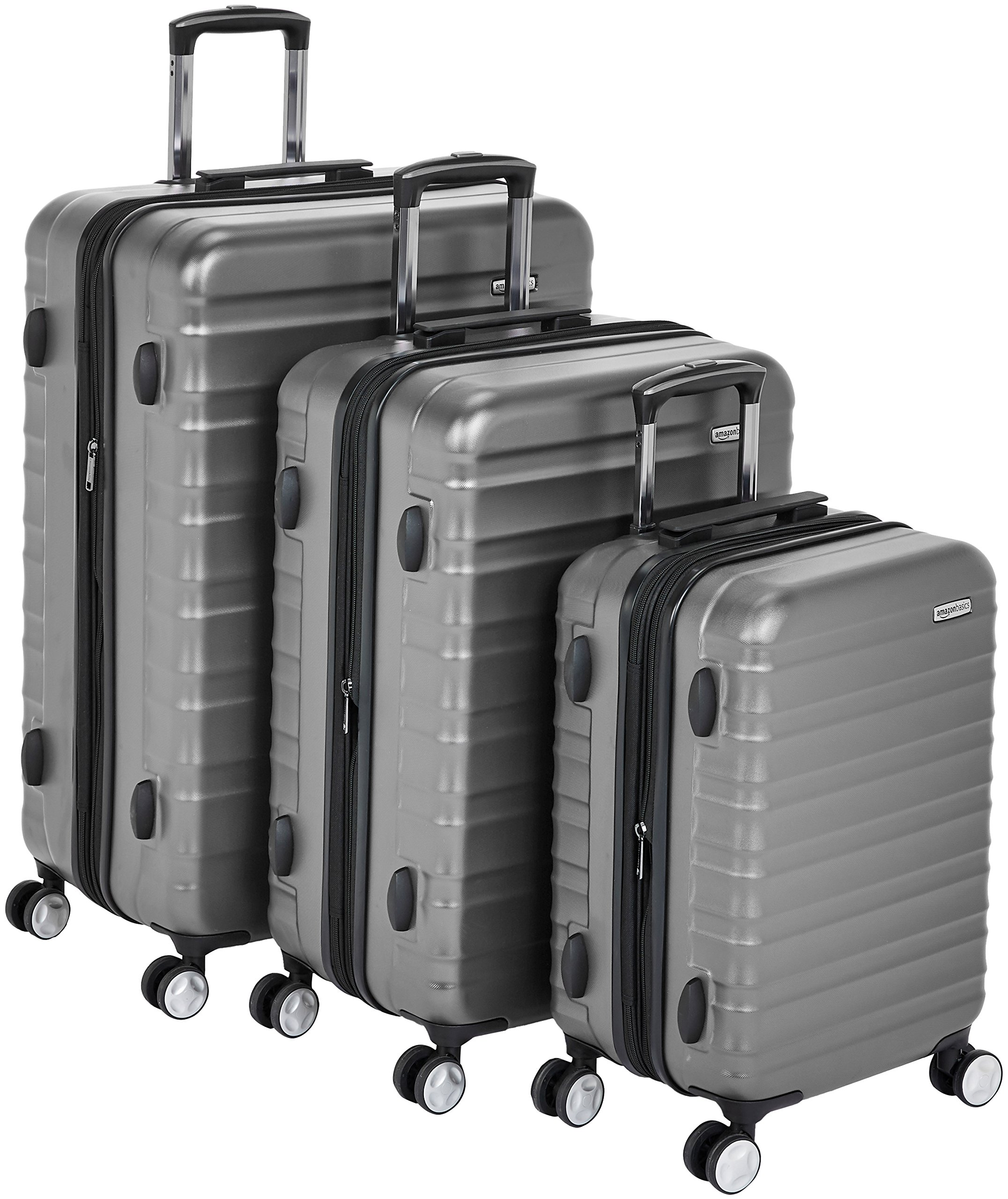AmazonBasics Premium Hardside Spinner Luggage with Built-In TSA Lock - 3-Piece Set (20'', 24'', 28''), Grey