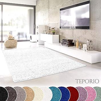 Teporio Shaggy-Teppich | Flauschiger Hochflor fürs Wohnzimmer, Schlafzimmer  oder Kinderzimmer | einfarbig, schadstoffgeprüft, allergikergeeignet ...