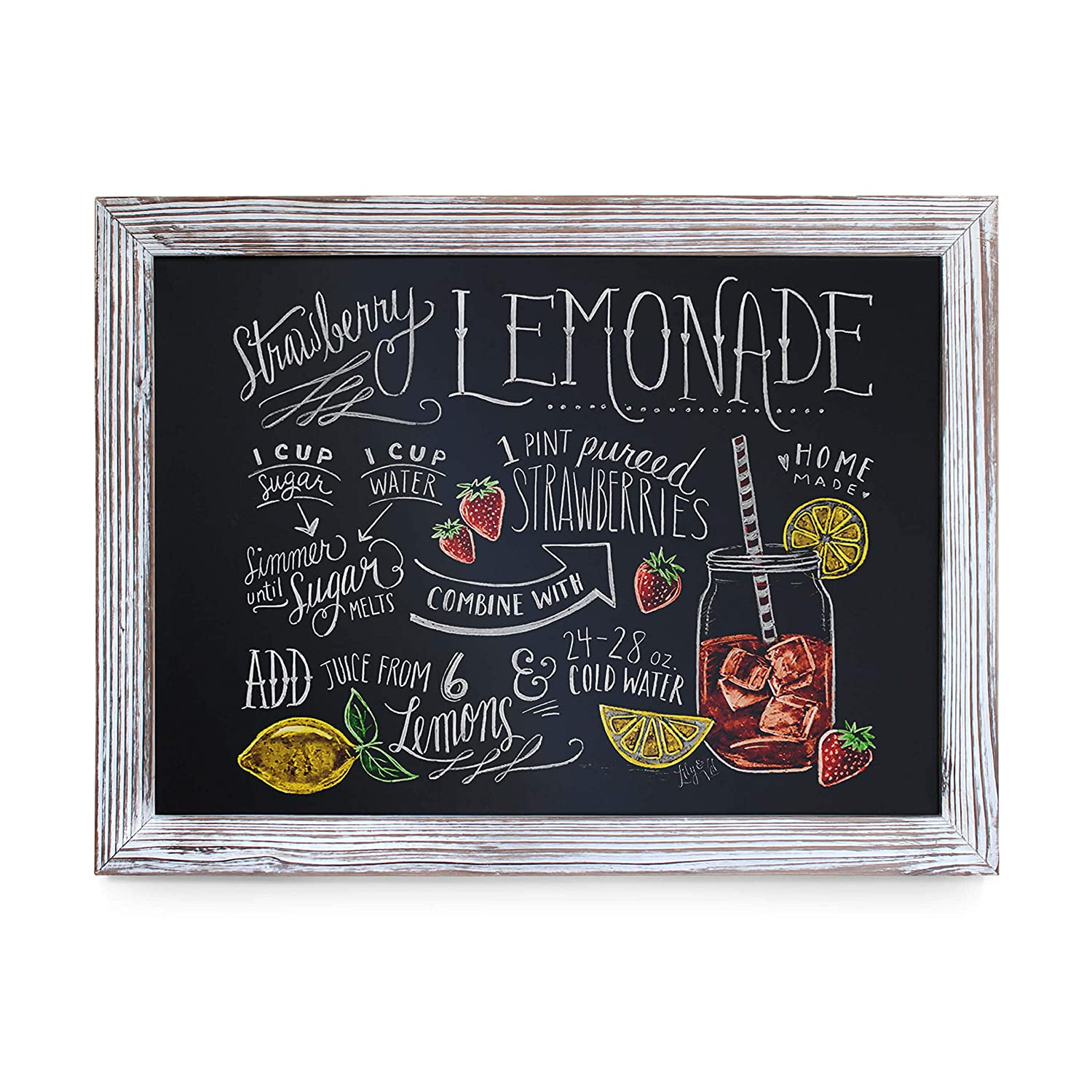 "Rustic Whitewashed Magnetic Wall Chalkboard, Large Size 18"" x 24"", Framed Chalkboard - Decorative Magnet Board Great for Kitchen Decor, Weddings, Restaurant Menus and More! … (18"" x 24"")"