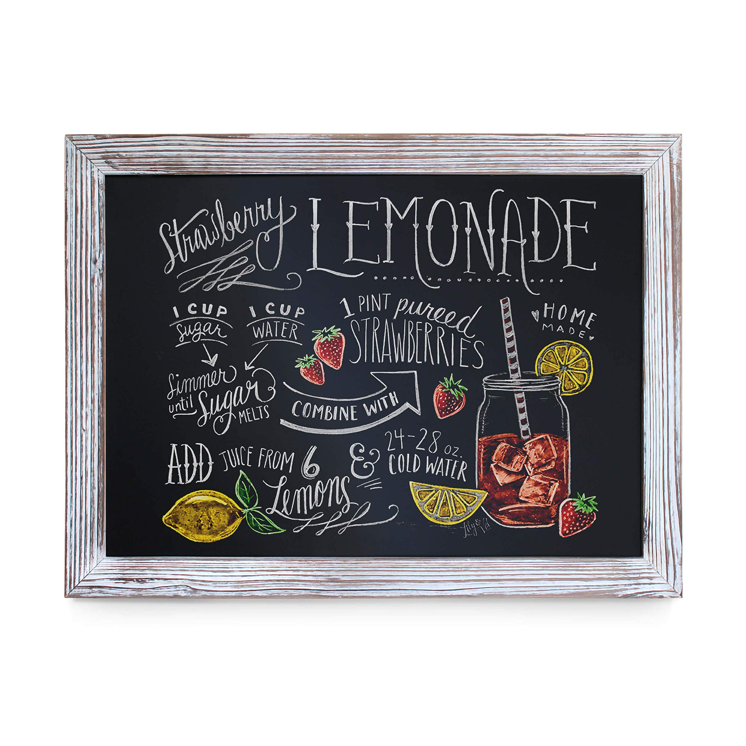 Rustic Whitewashed Magnetic Wall Chalkboard, Large Size 18'' x 24'', Framed Chalkboard - Decorative Magnet Board Great for Kitchen Decor, Weddings, Restaurant Menus and More! ... (18'' x 24'')... by HBCY Creations