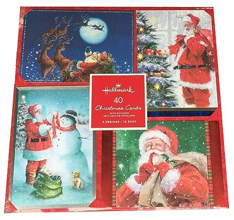 Hallmark Christmas Cards.Hallmark 40 Christmas Holiday Cards With Matching Self Sealing Envelopes 4 Designs 10 Each Santa