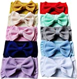 Baby Headbands Solid Bows Totim Soft Nylon Headwraps for Newborn Infant Toddler Girl