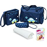 SALE!!! Baby Diaper Bag, Large Diaper Bag with Small Travel Nappy Bag For Boys And Girls, Changing Pad & Baby Bottle Bag, Multi-Function Waterproof Tote Bag For Mom. A Perfect Baby Shower Gift. (Blue)