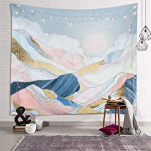 fangzhuo Pink Mountain Tapestry for Bedroom Sun Wall Tapestry Nature Tapestry Indie Room Decor for Livingroom Dorm Home W78