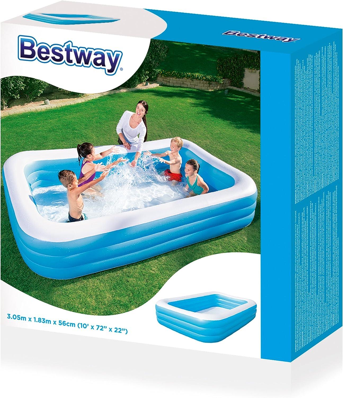 Bestway 54009 Piscina Hinchable Infantil Rectangular, Azul 305cm x ...