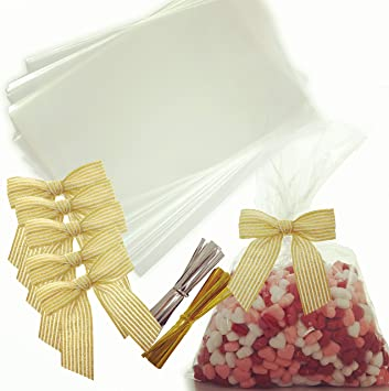 100PCS Cellophane Candy Popcorn Cones Cello Bag Party Favour Candy Treat Pack RS