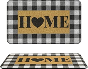 COLORPAPA Door Mat Indoor Outdoor Doormats Home Mats for Front Door Buffalo Plaid Rug Black and White Entrance Rug Inside Outside Non-SlipEasy CleanEntryway Rug Kitchen Mat Farmhouse ,18