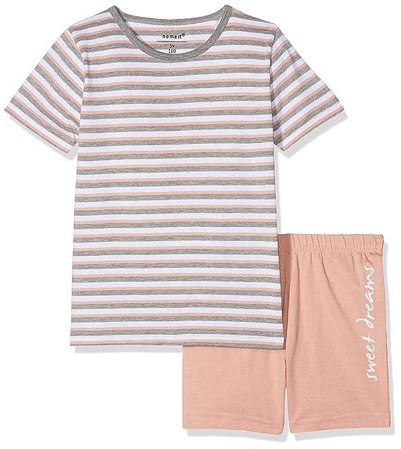 6c05534bc9 NAME IT Mädchen Zweiteiliger Schlafanzug NMFNIGHTSET Rose TAN SS Shorts,  Mehrfarbig, 110