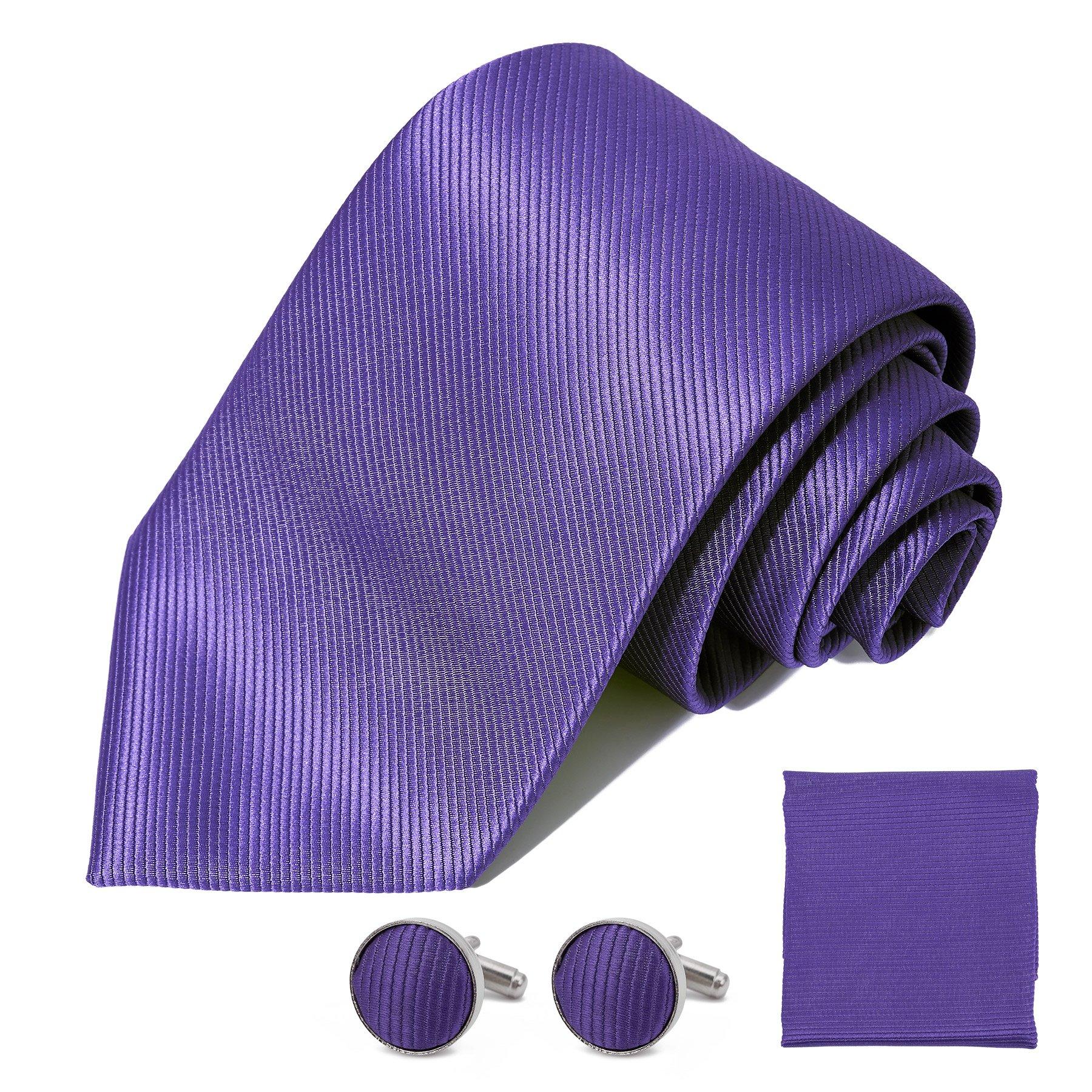 DEVPSISR Solid Satin Wide Tie Pocket Square Cufflinks Men Neckties Suit Accessories Formal set For Men (Purple)