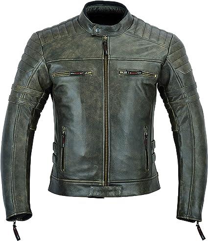 protezione armata equitazione LeatherTeknik Giacca da motociclista in pelle per uomo con armatura per motociclisti colore marrone DC-4090 stile vintage