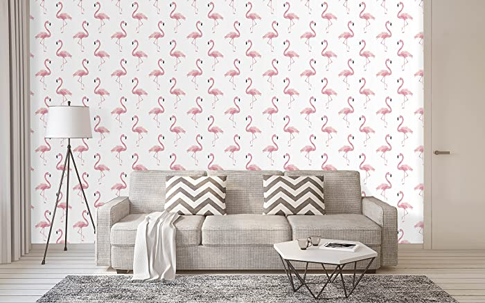 Peel And Stick Removable Wallpaper Watercolor Tropical Pink Flamingo Wall Covering Self Adhesive Vinyl Cc106