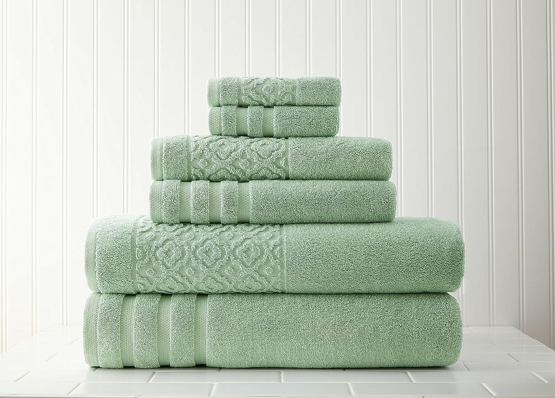 Pacific Coast Textiles 6 PC asciugamano con jacquard Border graticcio salvia, pezzi Amrapur Overseas Inc. SS-AMR-5JQTRLSG-SGE-ST