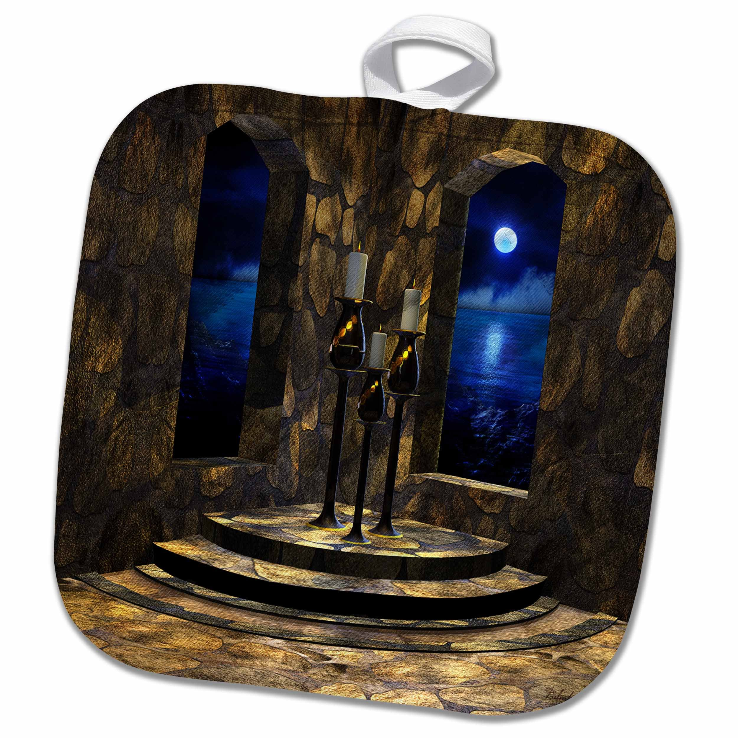 3D Rose a Medieval Castle Interior with Stone Walls-Arched Windows and a View of the Moonlit Sea Beyond Pot Holder, 8'' x 8''