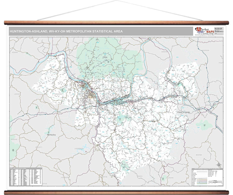 Huntington Wv Zip Code Map.Amazon Com Marketmaps Huntington Ashland Wv Metro Area Wall Map