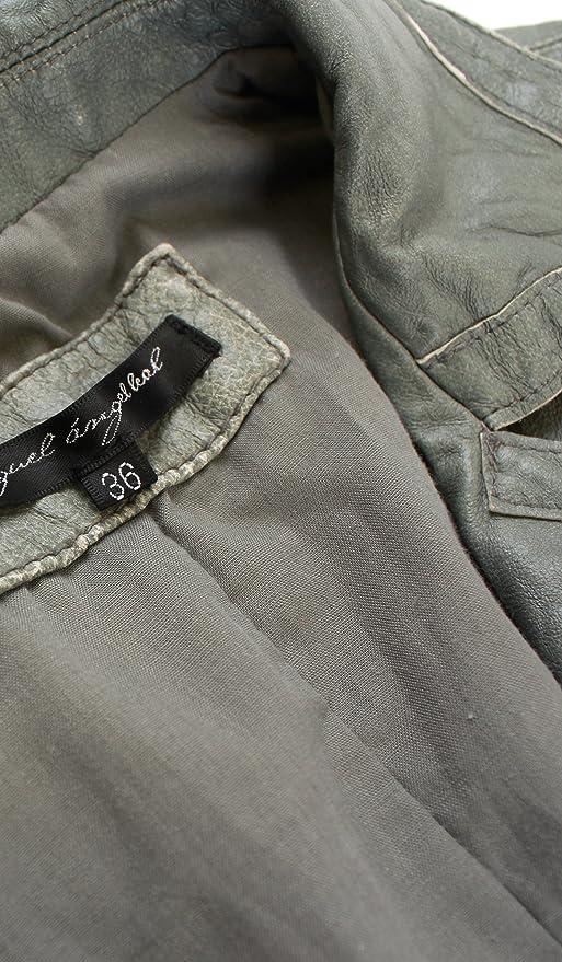 Amazon.com: Cristian Lay Women Gray Leather Jacket 95753380 Chaquetas de Cuero para Mujer: Clothing