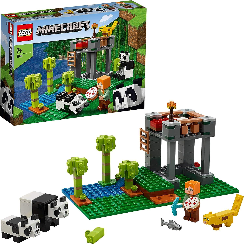 LEGO Minecraft - El Criadero de Pandas, Set de Construcción Inspirado en el Videojuego, Juguete para Recrear las Aventuras de los Personajes, Incluye Minifigura de Alex, Set a Partir de 7 Años (21158)